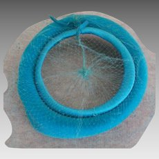 Turquoise Blue Velvet 1950's Open Top Veil Hat