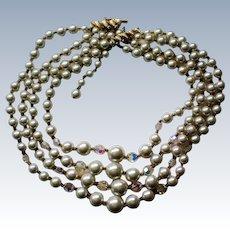 Four Strand Aurora Borealis Bead & Faux Pearl Necklace