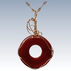 24KT Gold Wire Wrapped Carnelian Stone Pendant