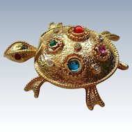Jeweled Back Turtle Pin by JJ