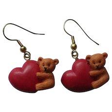 Valentine Teddy Bear Heart Dangle Pierced Earrings
