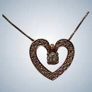 Sterling with Vermeil Valentine Heart Pendant Necklace