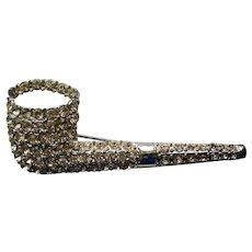 Rhinestone Studded Smoking Pipe Pin