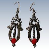 Southwestern Style Silver tone Pierced Earrings
