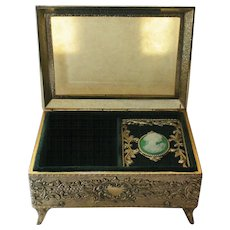 Trinket / Jewelry / Vanity Music Box with Framed Cameo Portrait