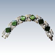 Coro Deep Green Thermoset Link Bracelet
