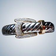 Belt Buckle Bracelet with Silver & Gold tone Metal
