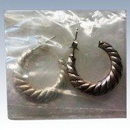 Avon Sterling Silver Fluted Hoop Earrings