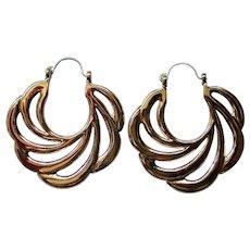 Avon Sweeping Swirl Pierced Hoop Earrings