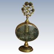 Gold Gilt Ormolu Floral Filigree & Beveled Glass Perfume ~ Scent Bottles