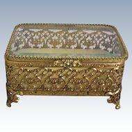 Filigree Ormolu Dresser Trinket or Jewelry Box with Beveled Glass Lid