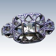 Silver tone CZ Ring – Size 7