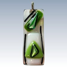 Brilliant Florescent Green Dichroic Glass Pendant