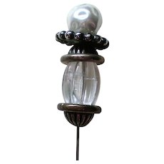 Large Stick or Hat Pin with faux Blister Pearl