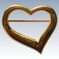 Large Gold tone Open Heart Valentine Pin
