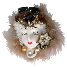 Porcelain Lady in Fur Brooch