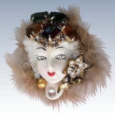 Artisan Created Lady in Fur Brooch