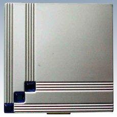 Rhinestone Studded Silver tone Powder Compact for Avon