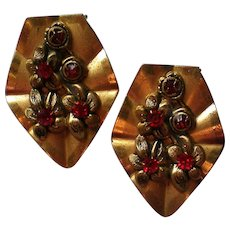 Identical Red Rhinestone Brass Metal Fur or Dress Clips