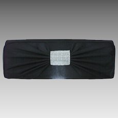 Black Satin Rhinestone Studded Evening Clutch Purse Bag
