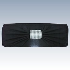 Black Satin Rhinestone Studded Evening Clutch Purse Bag