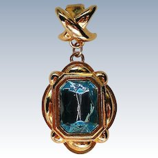 Avon Emerald Cut Aqua Glass Stone Pendant