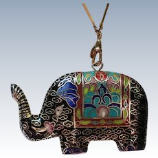 Cloisonné Enamel Elephant Pendant with Gold Gilt