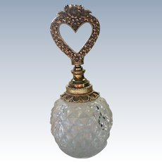 Floral Ormolu Heart Shaped Perfume Stopper with Glass Bottle