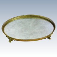Filigree Gilt Dresser / Vanity / Perfume Footed Oval Mirror