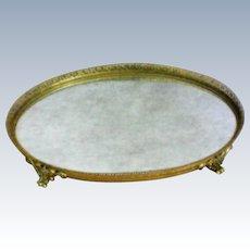 Filigree Gilt Dresser / Vanity / Perfume Footed Oval Mirror