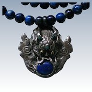 Sterling Silver Dragon Pendant with Lapis Lazuli Bead Necklace
