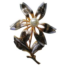 Damascene Flower Brooch with Faux Pearl from Spain