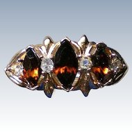 Dark Amber Rhinestone Three Stone Cocktail Ring