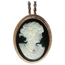 Avon Cameo Pendant or Pin with Rhinestone Necklace