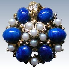 Faux Lapis and Simulated Seed Pearls Cluster Statement Ring