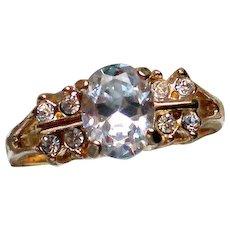 Large Solitaire Rhinestone Engagement Wedding Ring