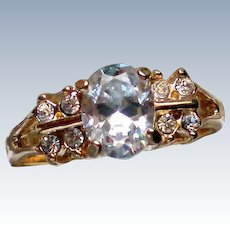 Large Solitaire Rhinestone Wedding Ring