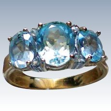 Three Stone Lab Created Aquamarine Ring