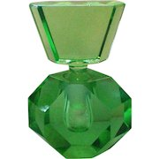 Green Glass Geometric Hexagon Perfume Bottle