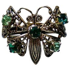 Filigree Butterfly Ring with Green Rhinestone Accents