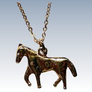 Petite Golden Horse Pendant Necklace