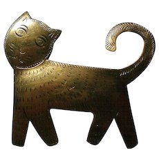 Artisan Brass Cat Pin