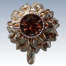 Avon Amber Glass Sweetheart Ring