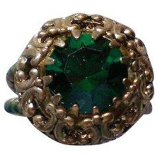 Western Germany Emerald Green Rhinestone Statement Ring