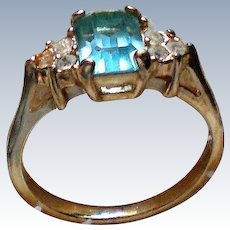 Aqua Glass Rhinestone Ring