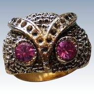 Wise Owl Ring with Pink Rhinestone Eyes