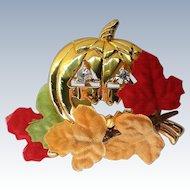 Avon Golden Pumpkin Jack-O-Lantern Pin for Halloween in Original Box