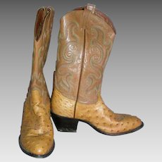 Tony Lama Full Quill Ostrich Exotic Men's Cowboy Boot / Matching Belt