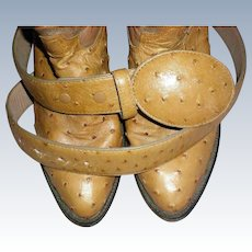 Ostrich Quill Man's Belt to Match Tony Lama Boots