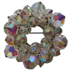 Dazzling Beaded Aurora Borales Austrian Crystal Circle Brooch
